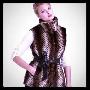 Via Spiga belted faux fur vest